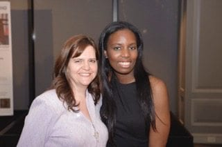 Miranda McCroskey (left) and Amara Omoregie (right) celebrating the first anniversary of Miranda's radio channel, Lawpreneur Radio.
